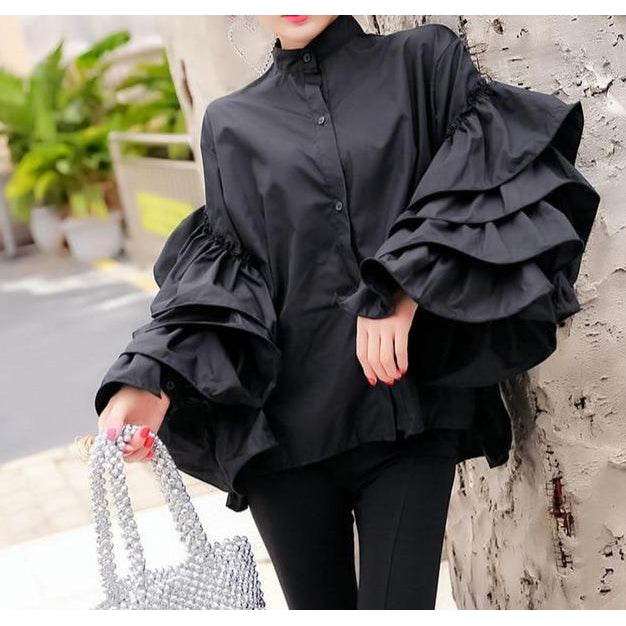 Dreamy Stand Collar Loose Blouse