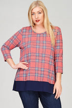 Plaid Back Button Contrast Shirt