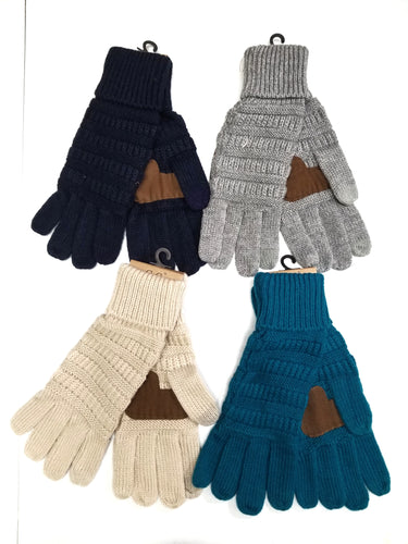 Navy CC Knitted Gloves