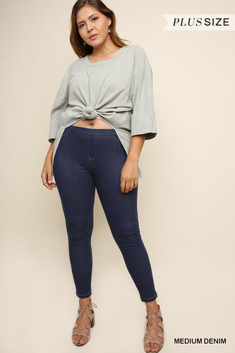 High Waist Stretch Denim Jeggings with Back Pockets