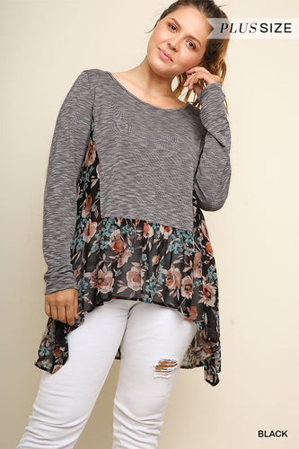 S Only - Long Sleeve Floral Print Ruffle Shirt