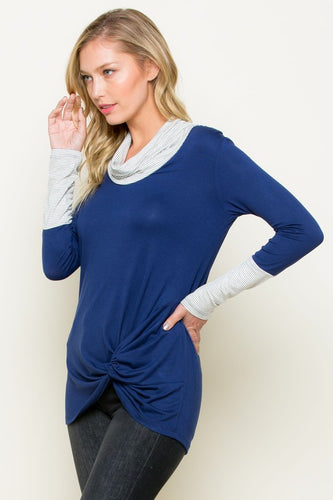 S Only - Navy Side-Knot Cowl Neck Long Sleeve Shirt