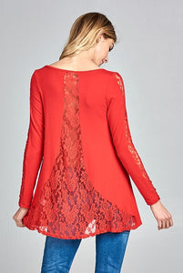 Red Lace Detail Long Sleeve Tunic