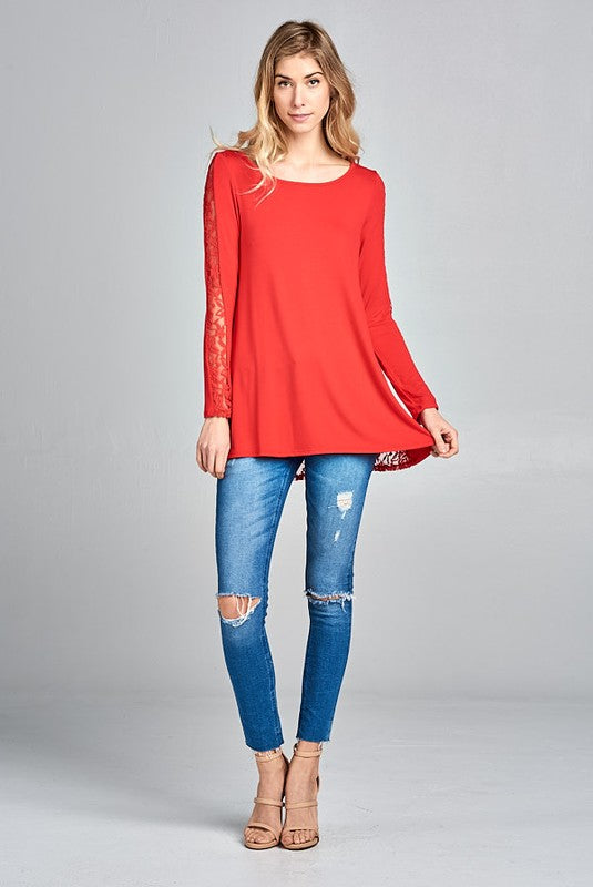 818d0008de8 Red Lace Detail Long Sleeve Tunic – The Hippie Chameleon