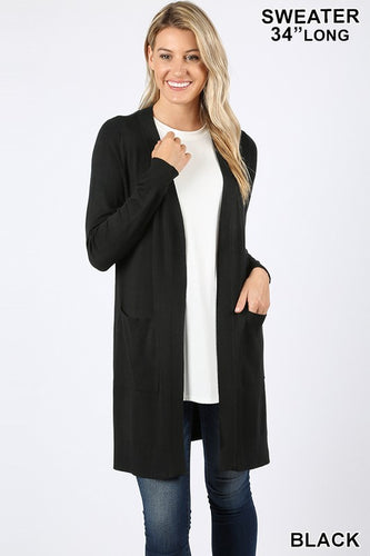 3XL Black, Long Cardigan Sweater with Pockets