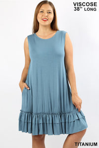 Sleeveless Ruffle Dress - Spring Blue