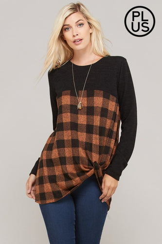 3XL Black & Rust Plaid Knit Sweater
