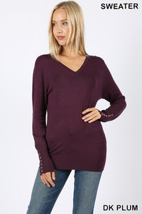 Dark Plum V-Neck Sweater with Rose Gold Buttons