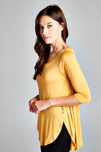 Mustard Side Button Tunic
