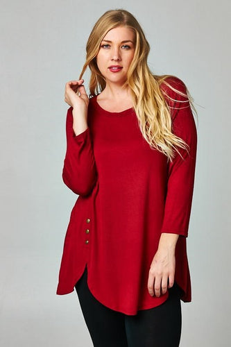 Red Side Button Tunic