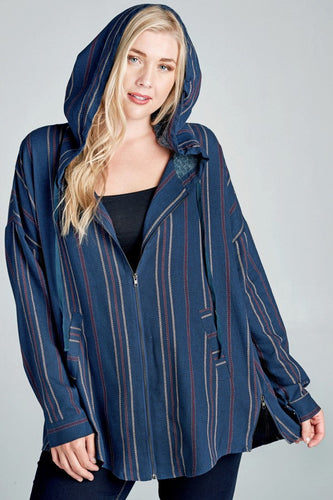 Navy Striped Hooded Jacket