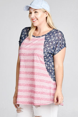 3XL Stars and Stripes Raglan Tee