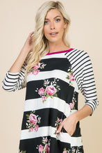 Floral Striped Spring Tunic Dress