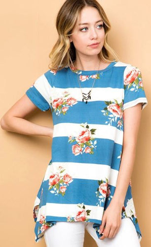 Blue Stripe Floral Shirt
