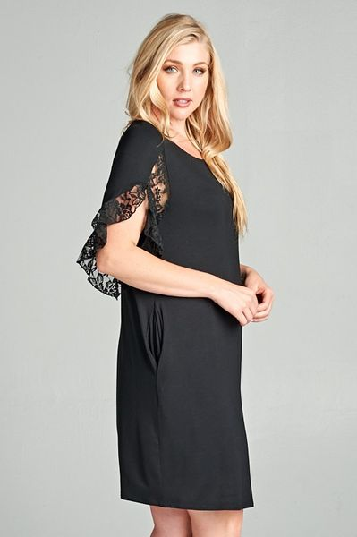 Black Lace Sleeve Dress