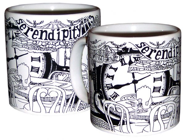 SERENDIPITY 3 BLACK & WHITE DECAL MUG