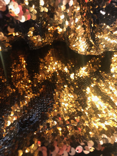 8FT x 9FT Sequin Backdrop Mermaid Gold and Black Sequin Backdrop | Reversible Sparkly Sequin Photography Backdrop Wedding Backdrop - Photo Booth Prop Sign