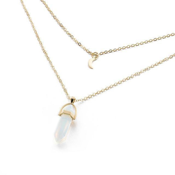 Moon Child Crystal Necklace - Trendy Oasis