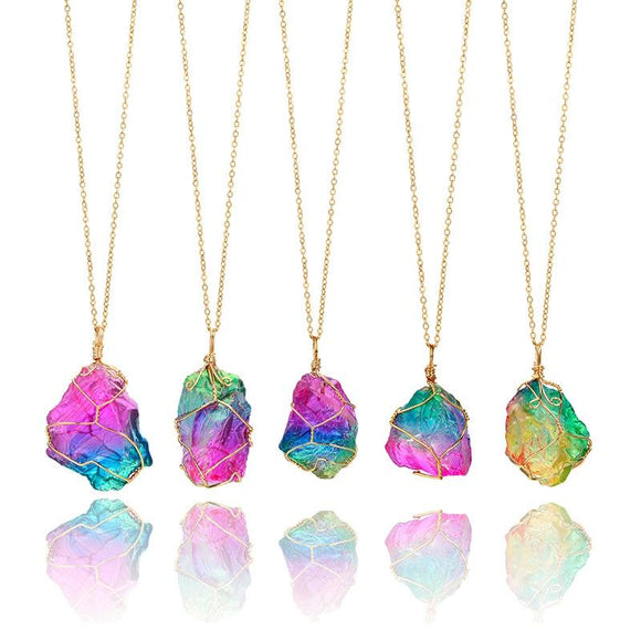 Rainbow Quartz Chakra Healing Pendant Necklace - Trendy Oasis