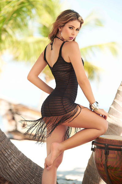 Black Fringed Beach Dress