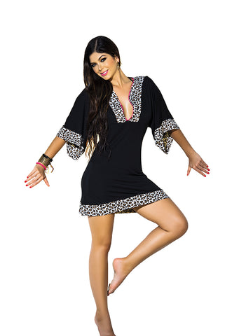Black Leopard Print Beach Dress