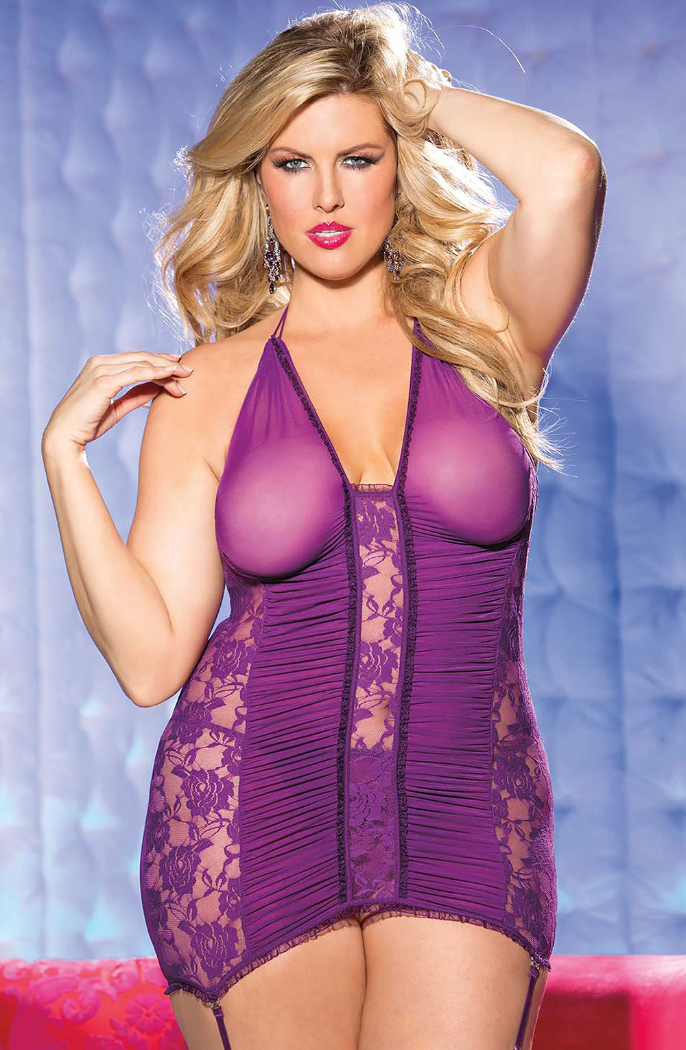 Purple Stretch Mesh and Lace Gartered Chemise Matching G-string