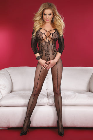 Livco Corsetti Black Amani Open Crotch Bodystocking