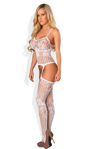 Provocative White Lacy Floral Open Crotch  Bodystocking