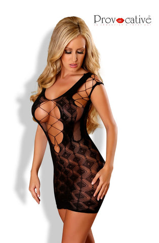 Black Criss Cross Fishnet Dress