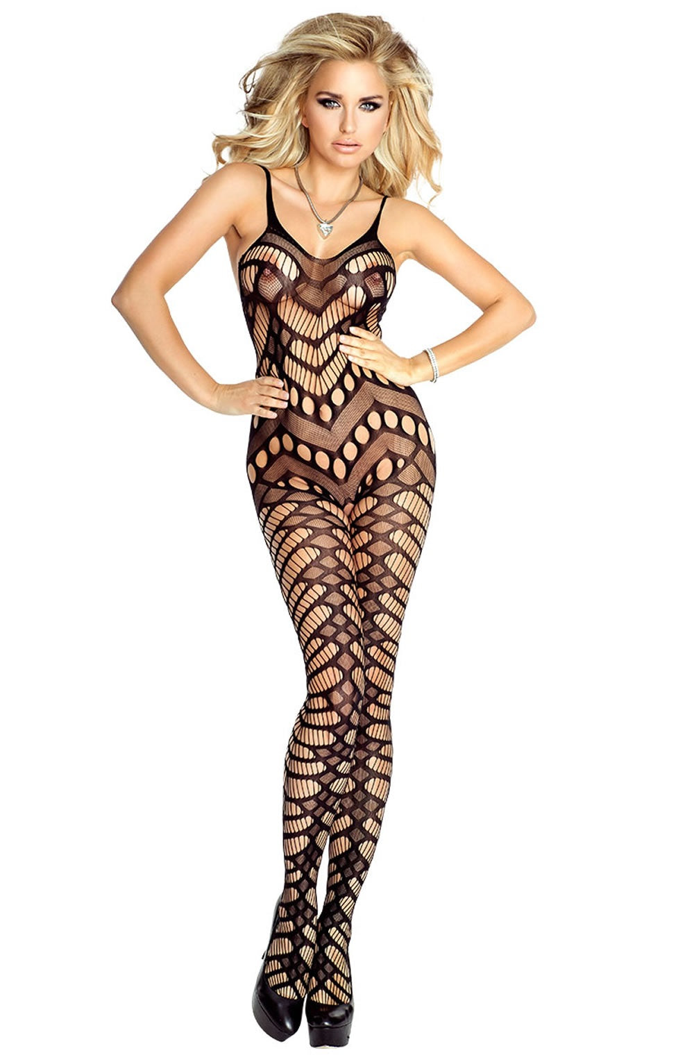 Provocative Black Open Cut Patterned Bodystocking