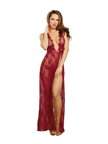 Garnet Lace Gown And G-String Set