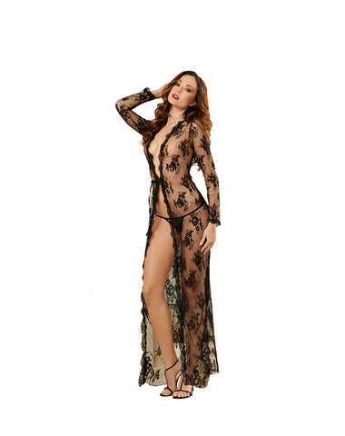 Black Lace Sheer Lingerie Gown Peignoir Set With Lace G-String