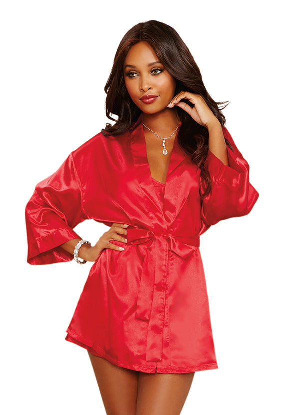 Red Charmeuse Babydoll And Robe