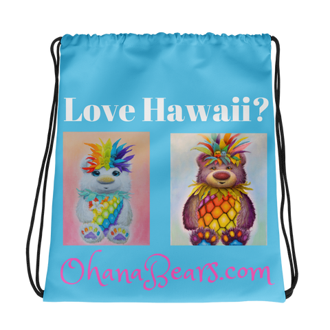 Love Hawaii Ohana Bears Drawstring bag
