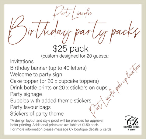 Birthday Party Packs - Port Lincoln SA PICK UP ONLY