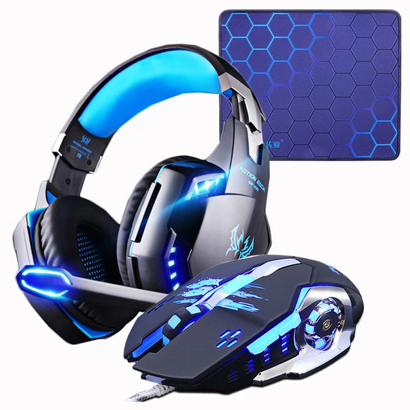Gaming Headset Headphones + Gaming Mouse 4000 DPI estéreo Mouse pad