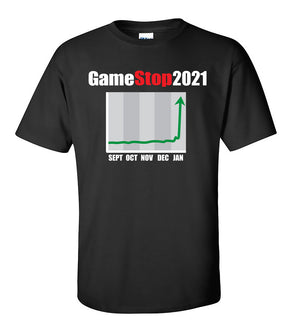 Commemorative GameStop 2021 Reddit GME Stock Chart - Adult Humor T-Shirt