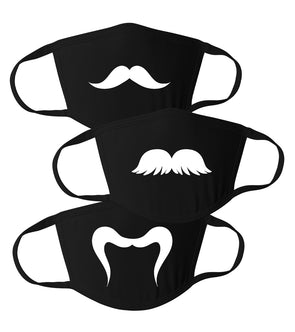 Cute Simple Multiple Different Mustaches - Reusable Adult Face Masks Pack of 3