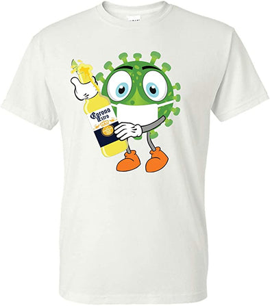 Coronavirus With Face Mask Holding A Beer T-Shirt