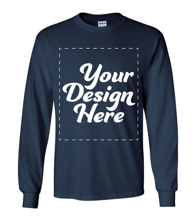Design Your Own Print Text or Image Long Sleeve Shirt - 100% Ringspun Cotton