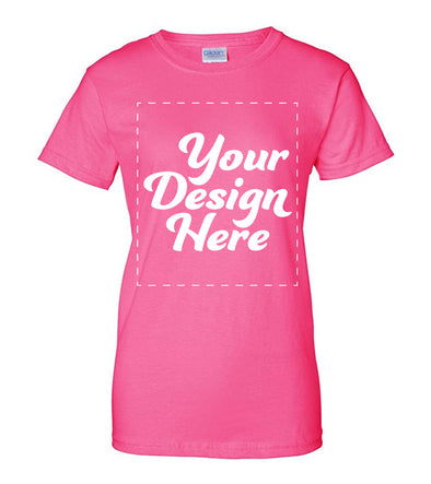 Design Your Own Print Text or Image Women Fit T-Shirt - 100% Ringspun Cotton