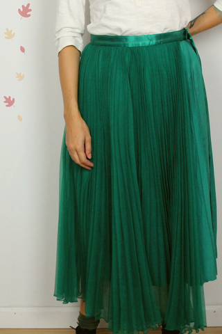 Pleated Green Skirt