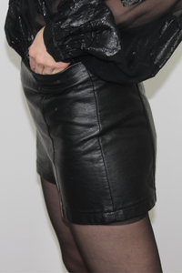 Sparkle & Fade Black Faux Leather Shorts---0248