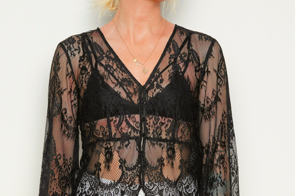 Sheer Embroidered Blouse in Black