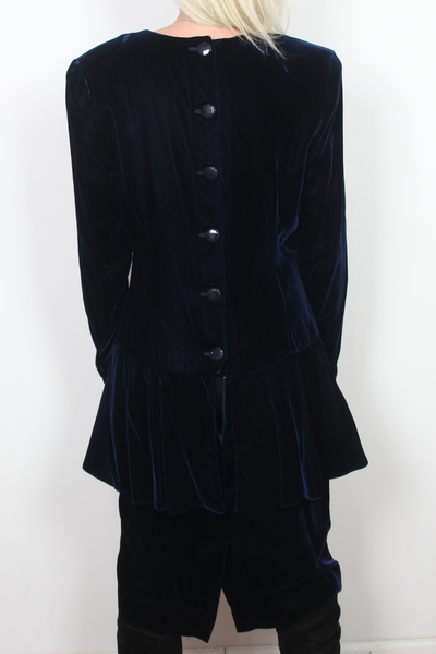 Vintage Ann Taylor dark blue velvet dress, button down back.