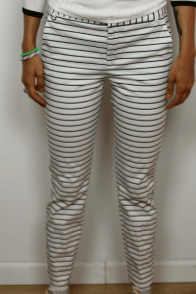 White/Navy Striped Cropped Pants