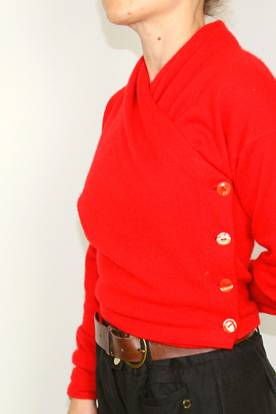 Vintage red knitted jacket