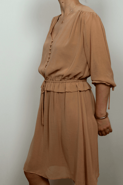 Chiffon Vintage Midi Dress In Tan