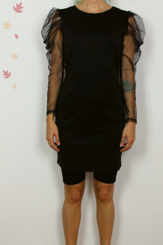 Black long sleeve sheer shirt-dress