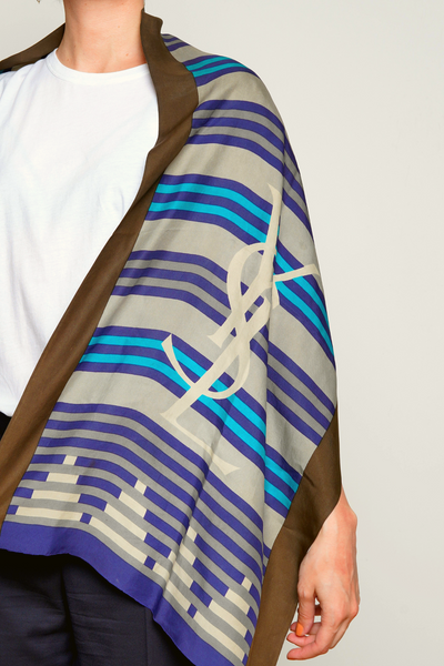 YSL Scarf Blue Striped Silk Shawl.